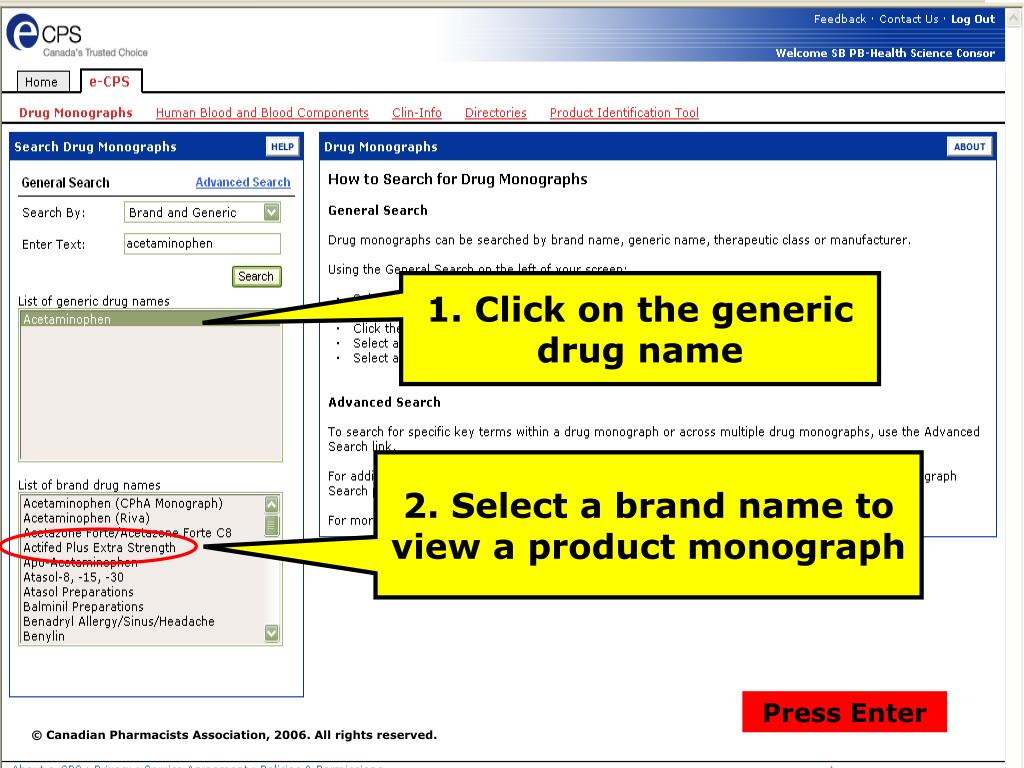 1. Click on the generic drug name
