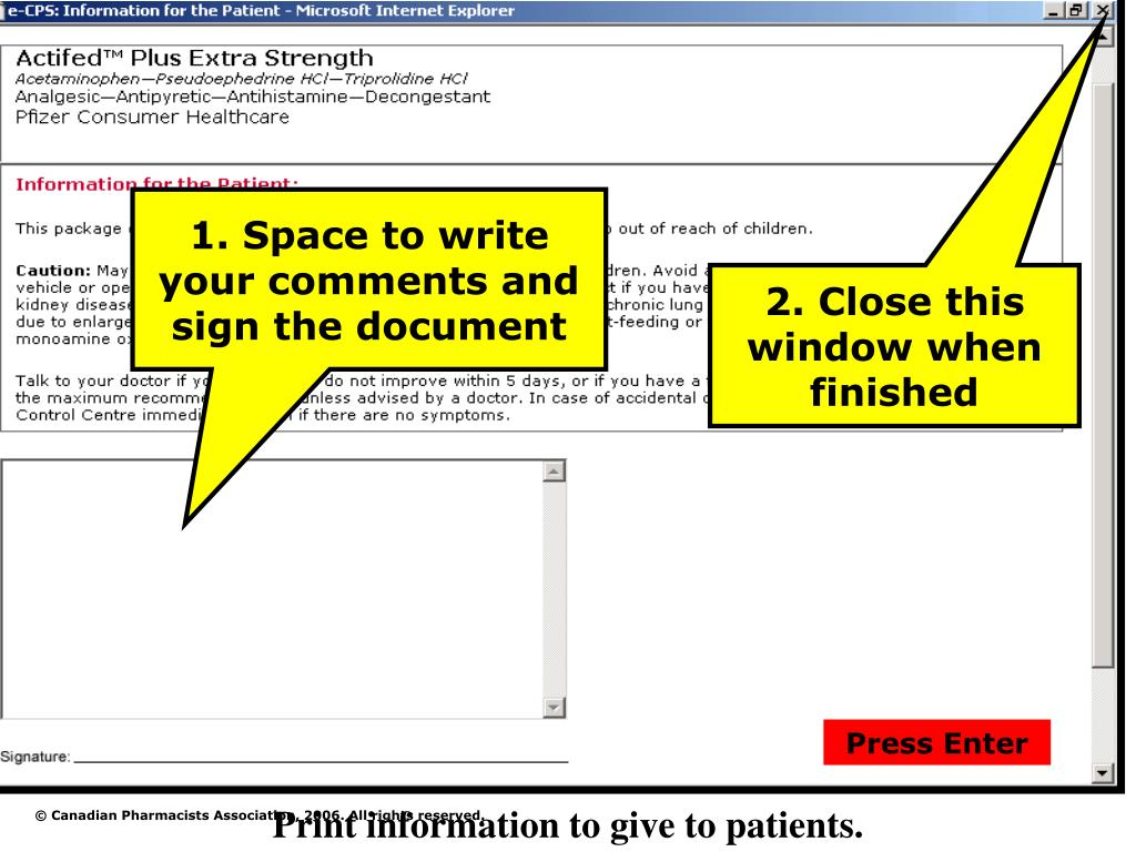 1. Space to write your comments and sign the document