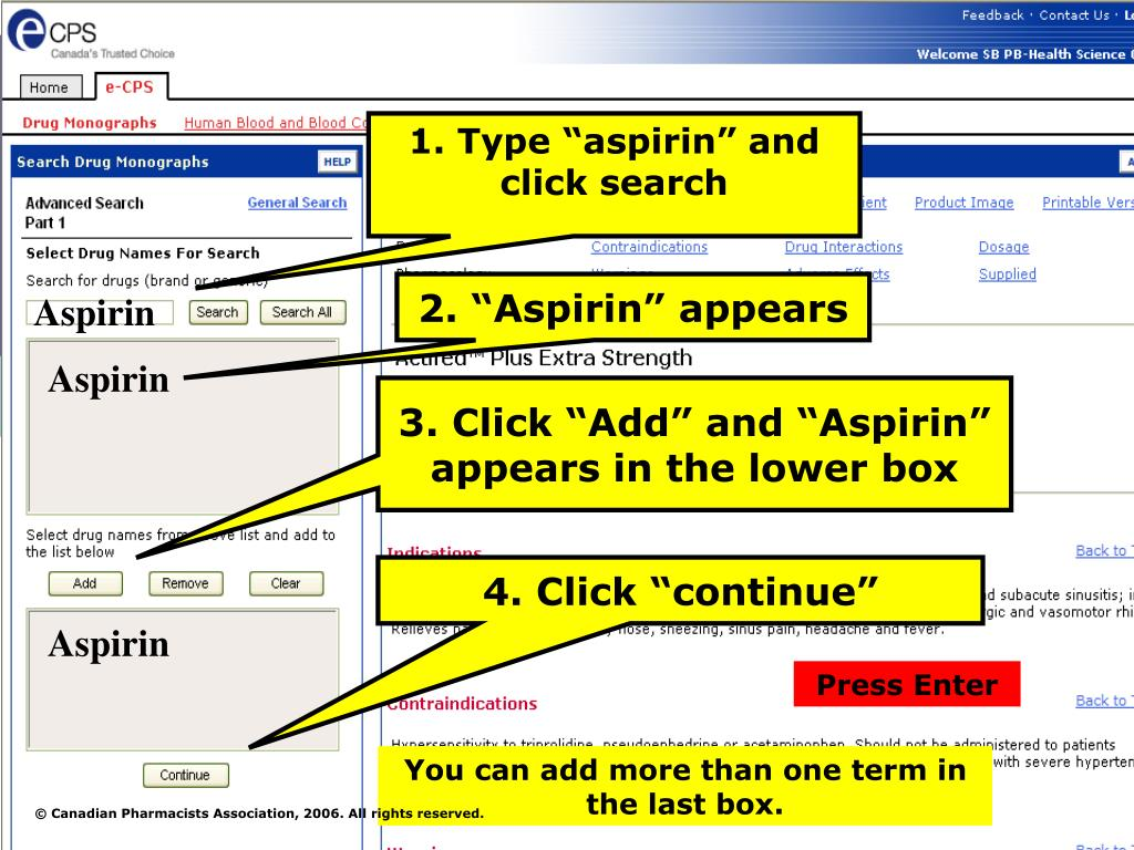 "1. Type ""aspirin"" and click search"
