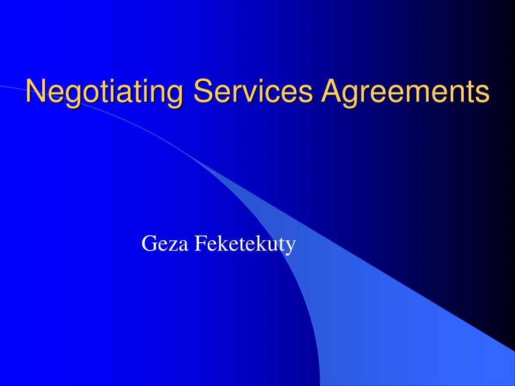 negotiating services agreements l.