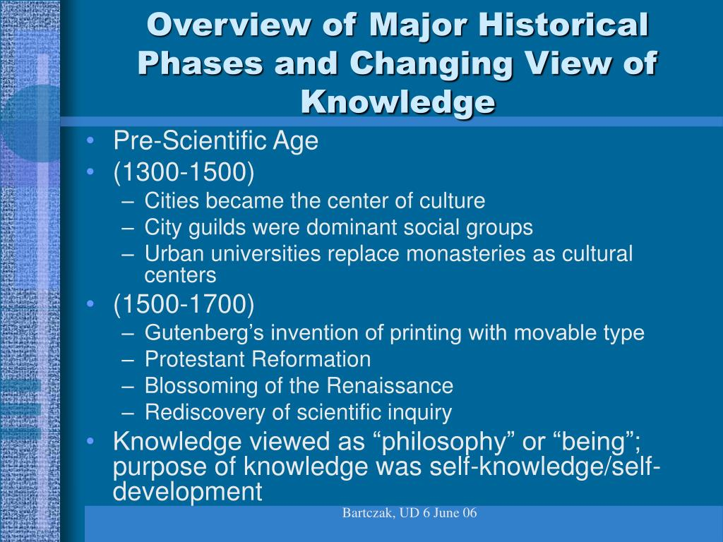 Overview of Major Historical Phases and Changing View of Knowledge
