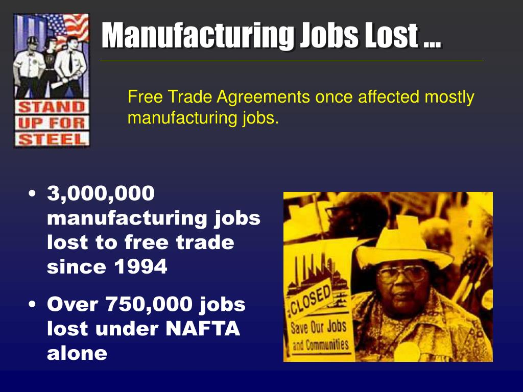 Manufacturing Jobs Lost …