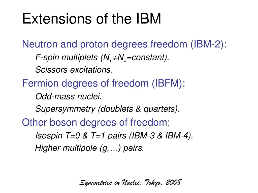 Extensions of the IBM