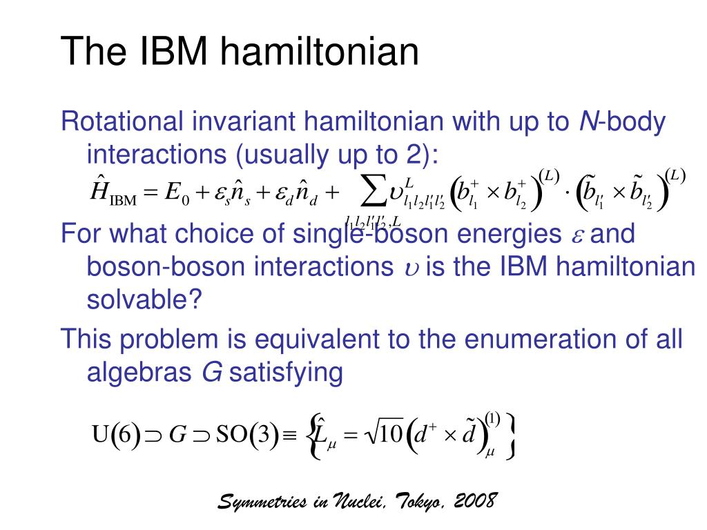The IBM hamiltonian