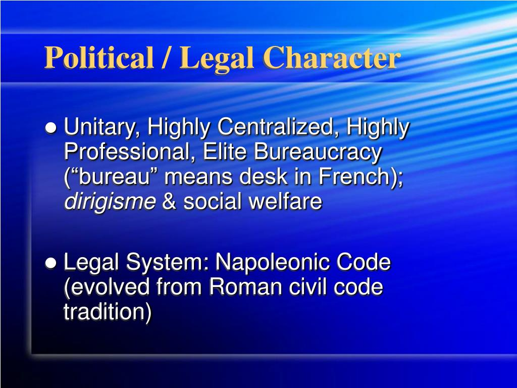 Political / Legal Character