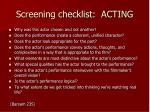 screening checklist acting