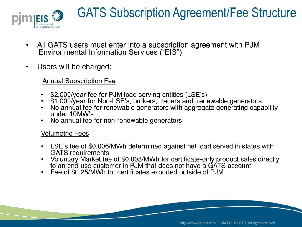 GATS Subscription Agreement/Fee Structure