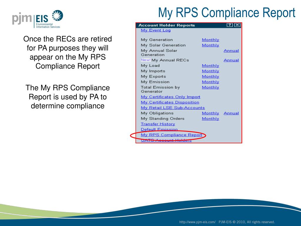 My RPS Compliance Report