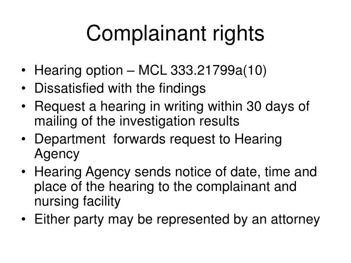 Complainant rights