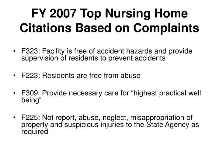 FY 2007 Top Nursing Home Citations Based on Complaints