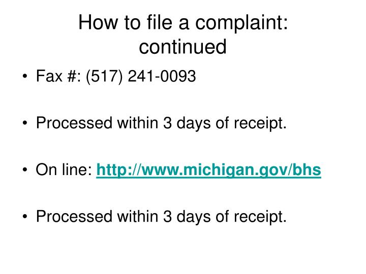 How to file a complaint: