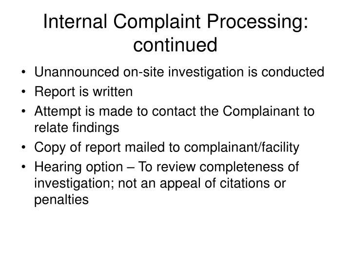 Internal Complaint Processing: