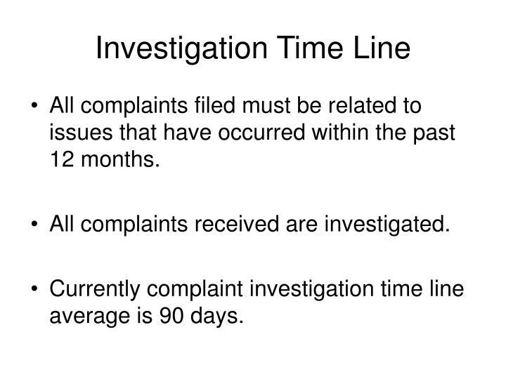 Investigation Time Line
