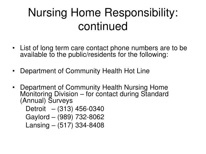 Nursing Home Responsibility: