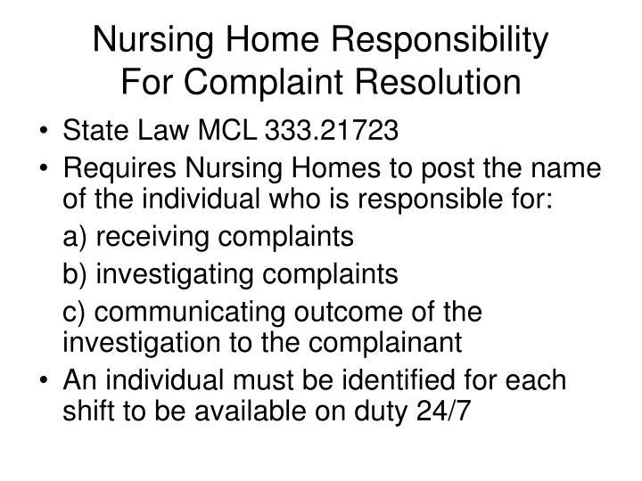 Nursing Home Responsibility