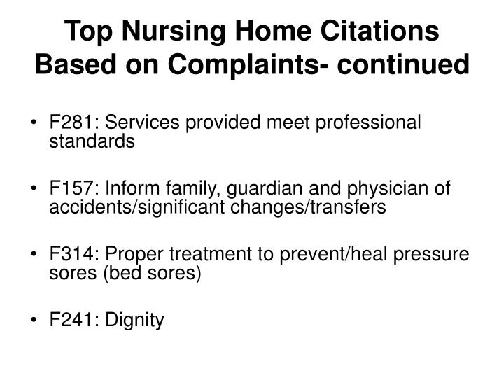 Top Nursing Home Citations Based on Complaints- continued
