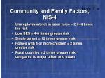 community and family factors nis 4