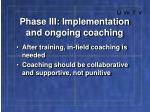 phase iii implementation and ongoing coaching