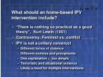 what should an home based ipv intervention include