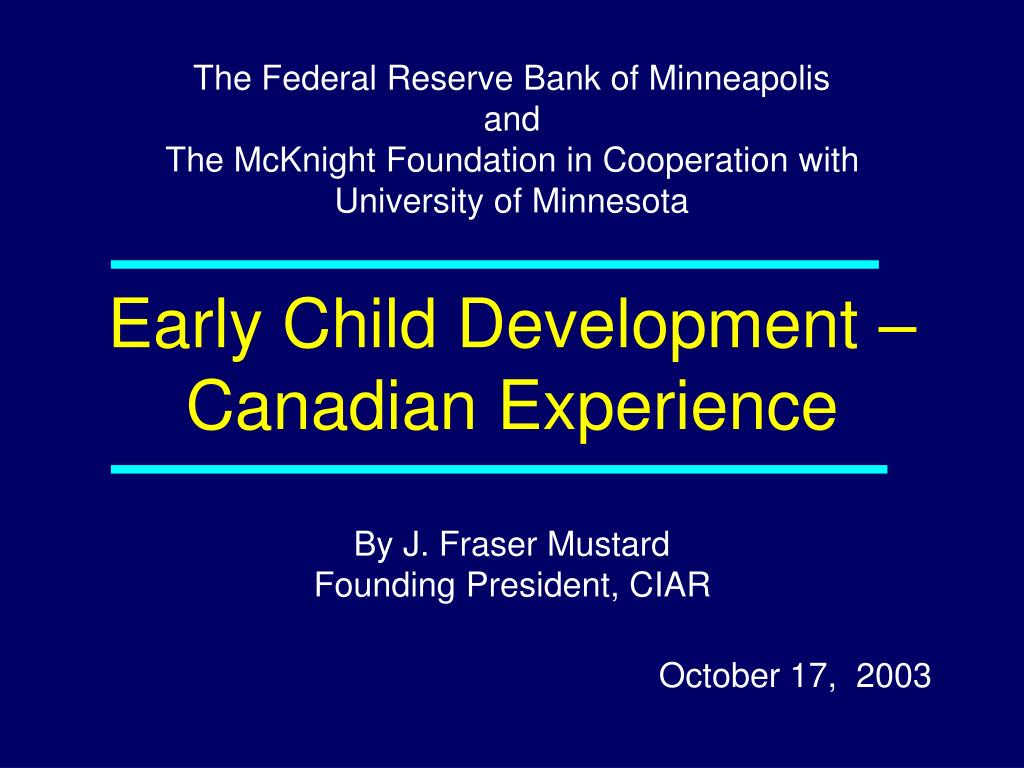 early child development canadian experience l.