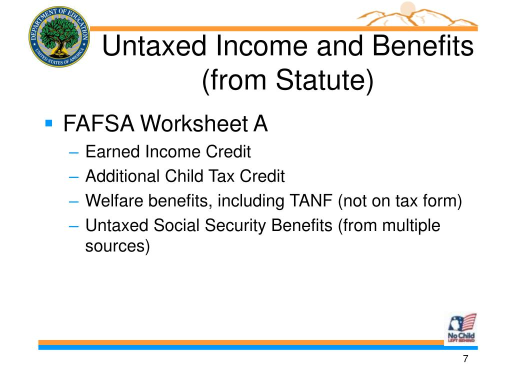 Untaxed Income and Benefits (from Statute)