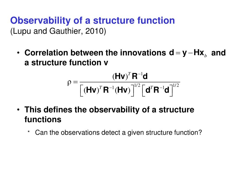 Observability of a structure function
