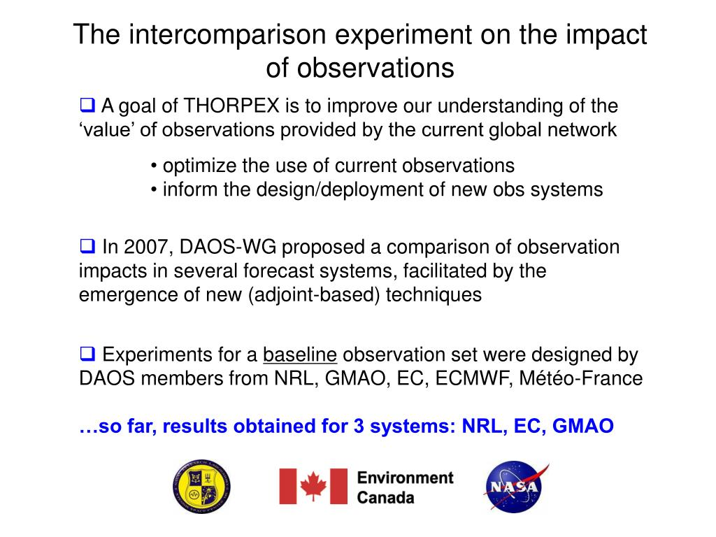The intercomparison experiment on the impact of observations