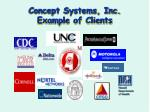concept systems inc example of clients