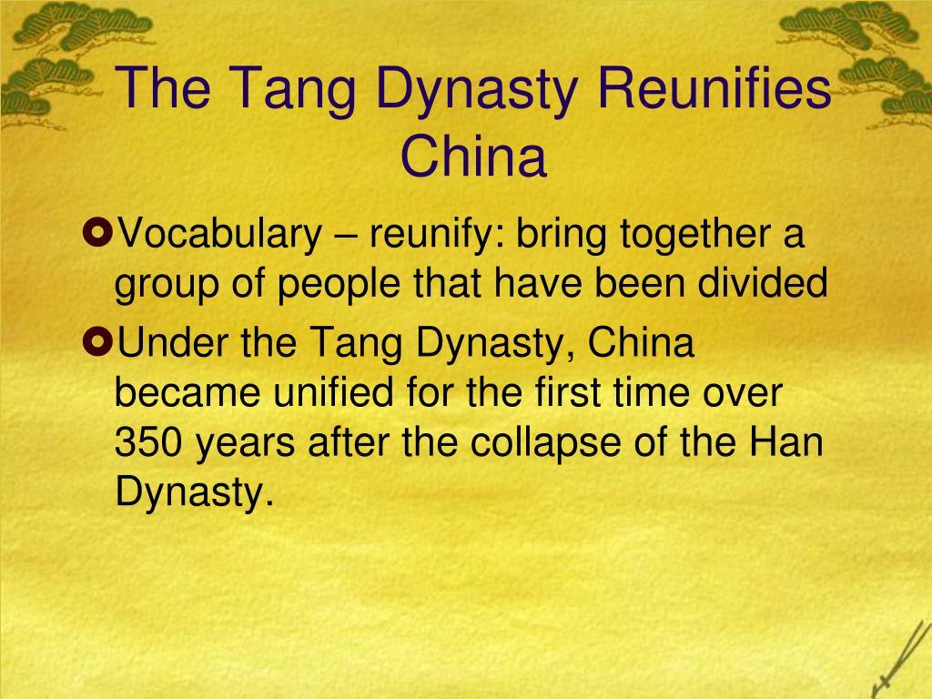 The Tang Dynasty Reunifies China