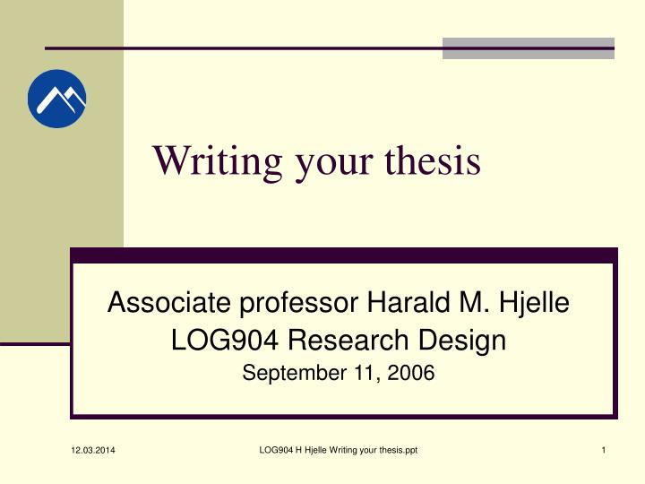 writing your thesis n.