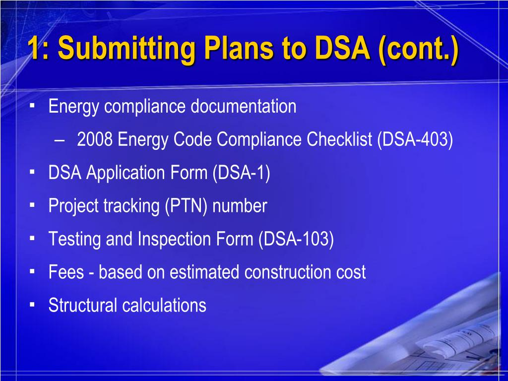1: Submitting Plans to DSA (cont.)