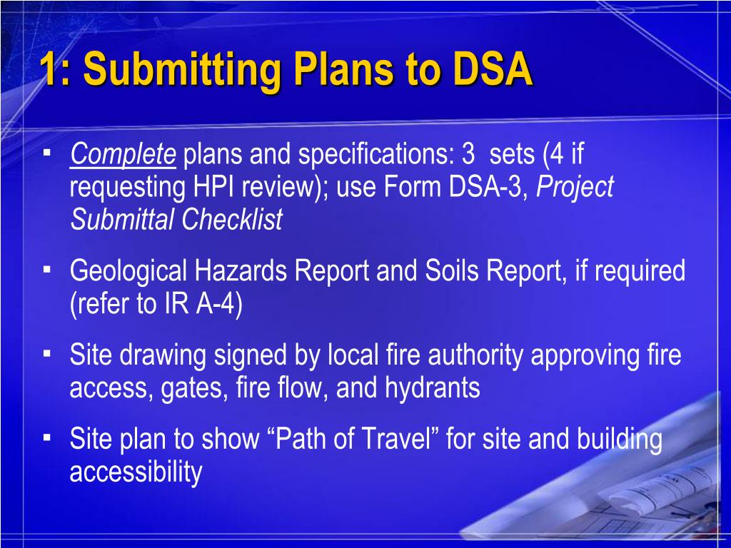 1: Submitting Plans to DSA