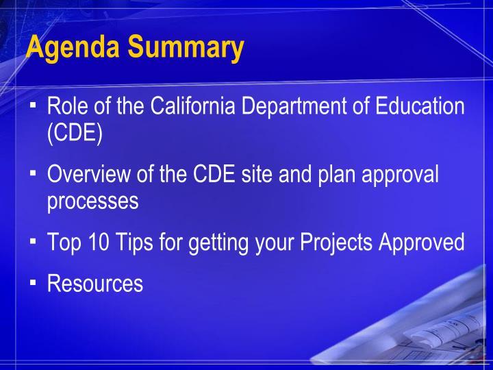 Agenda summary
