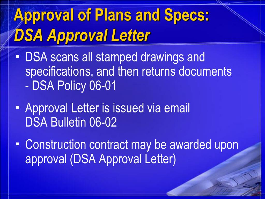 Approval of Plans and Specs: