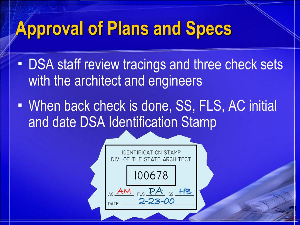 Approval of Plans and Specs
