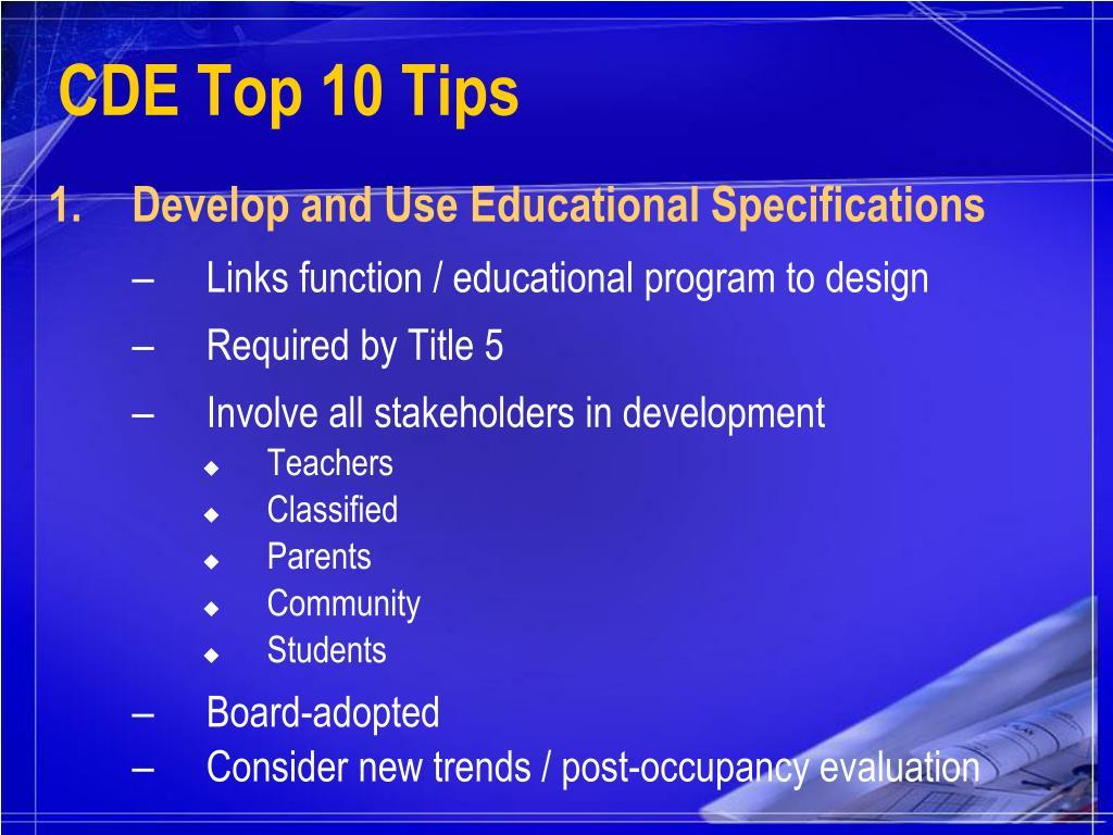 CDE Top 10 Tips