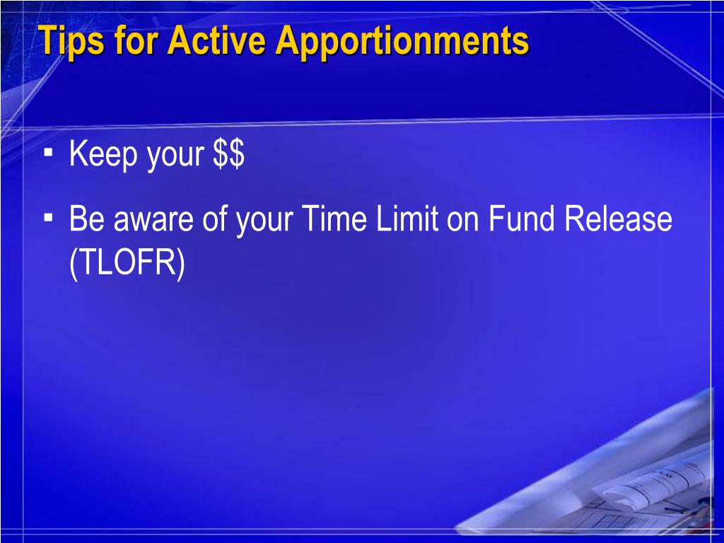 Tips for Active Apportionments