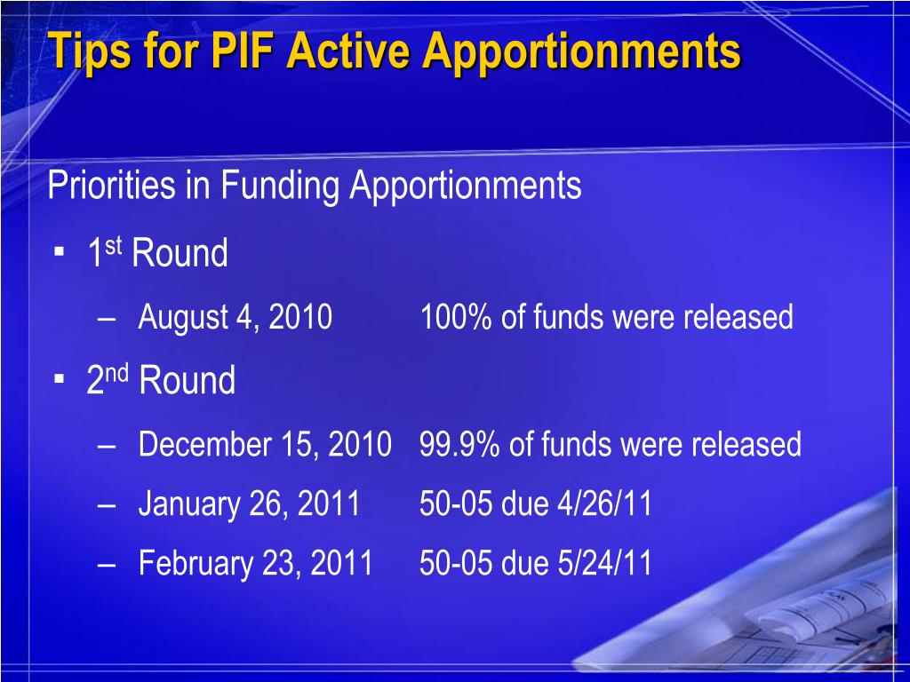 Tips for PIF Active Apportionments