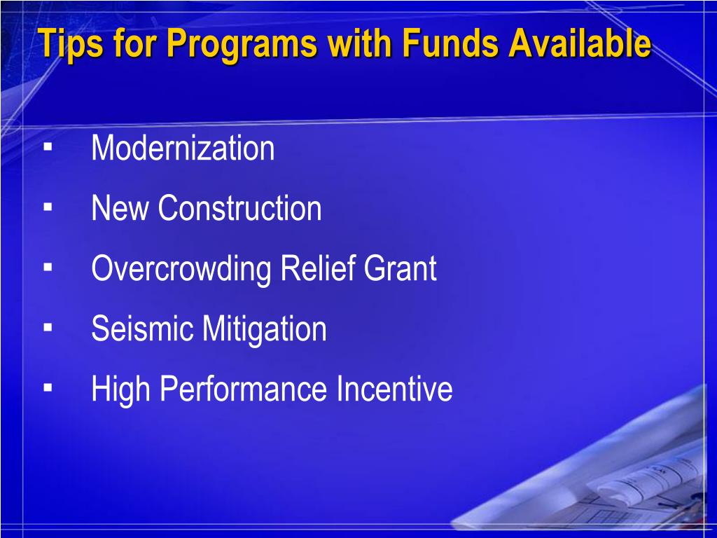 Tips for Programs with Funds Available
