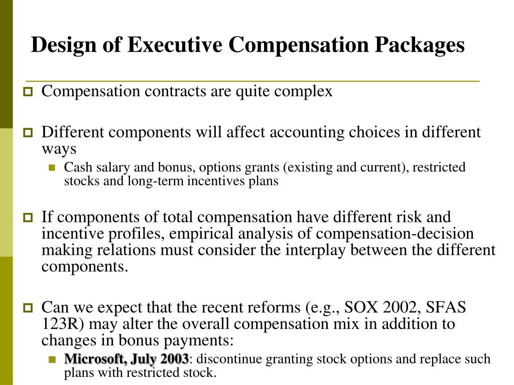 Design of Executive Compensation Packages