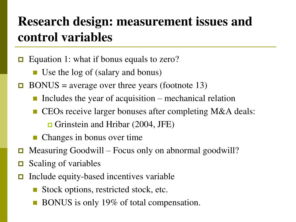 Research design: measurement issues and control variables