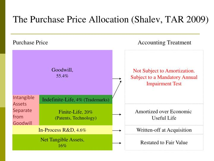 The purchase price allocation shalev tar 2009