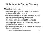 reluctance to plan for recovery