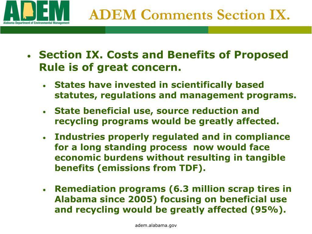ADEM Comments Section IX.