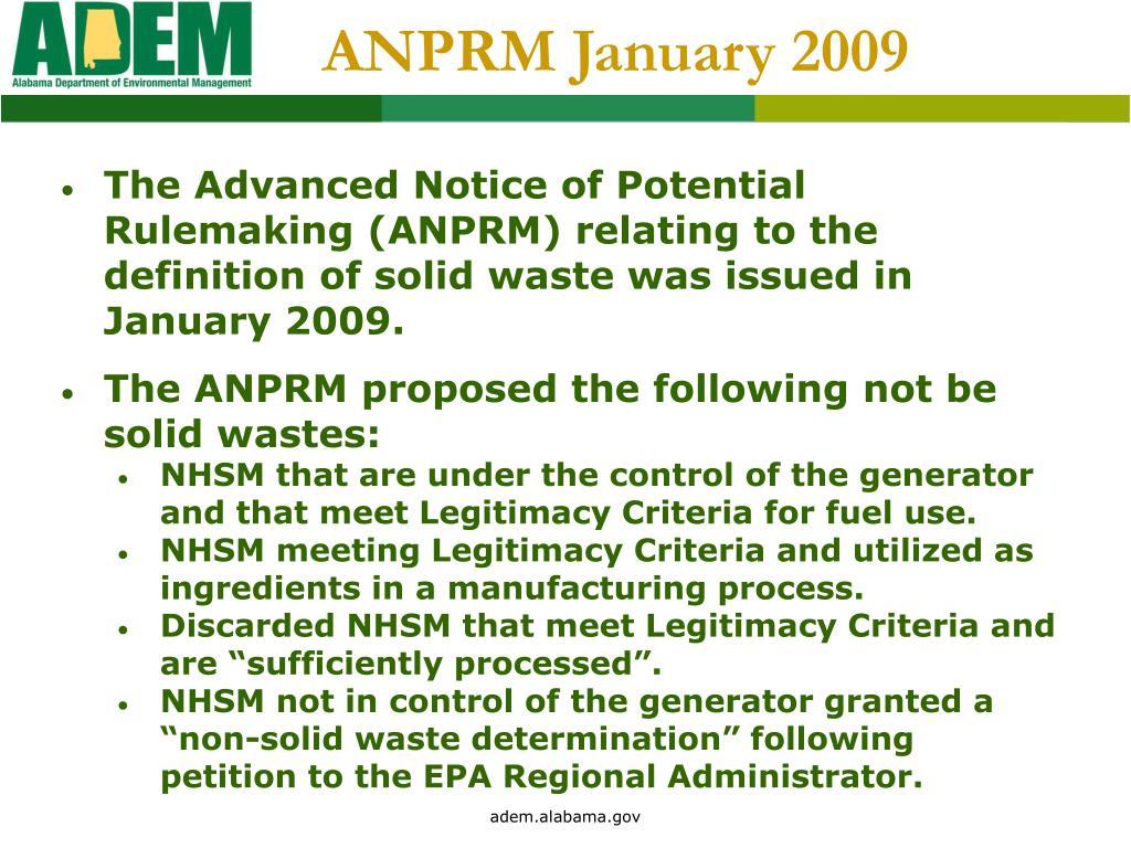 ANPRM January 2009