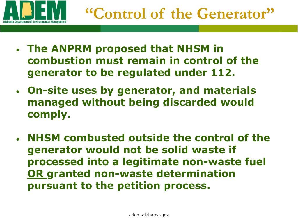 """Control of the Generator"""