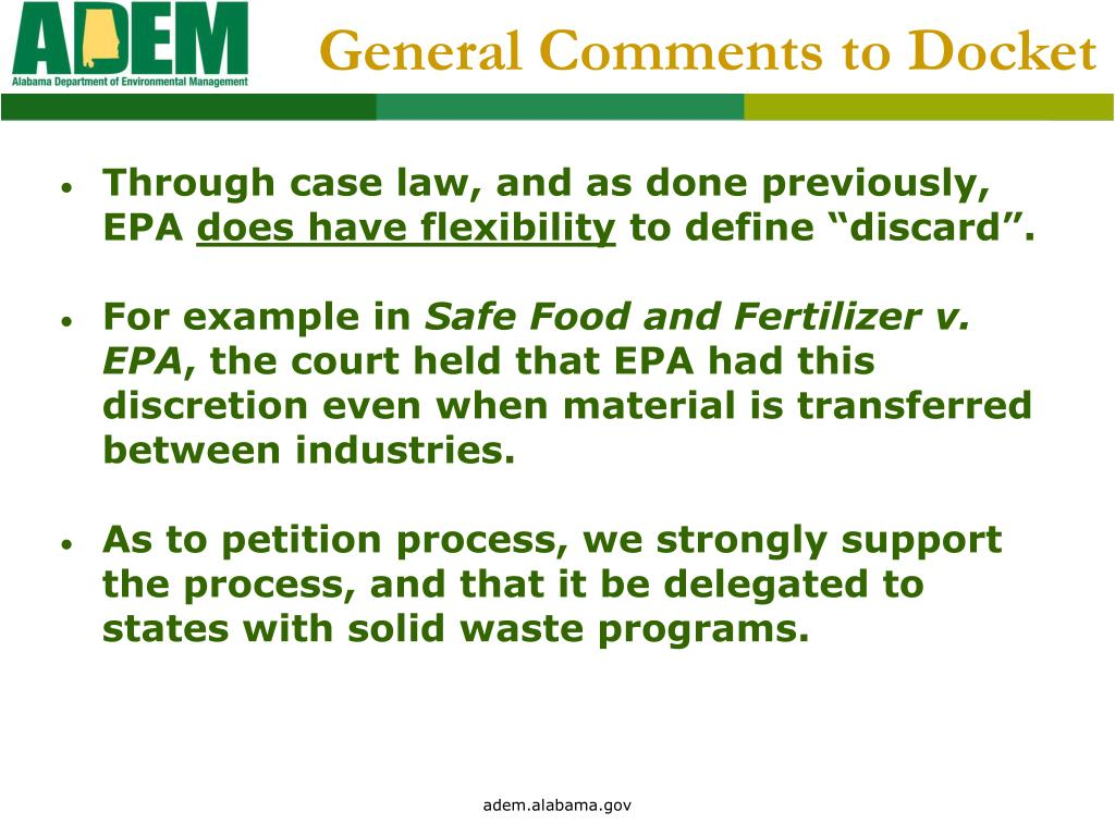 General Comments to Docket