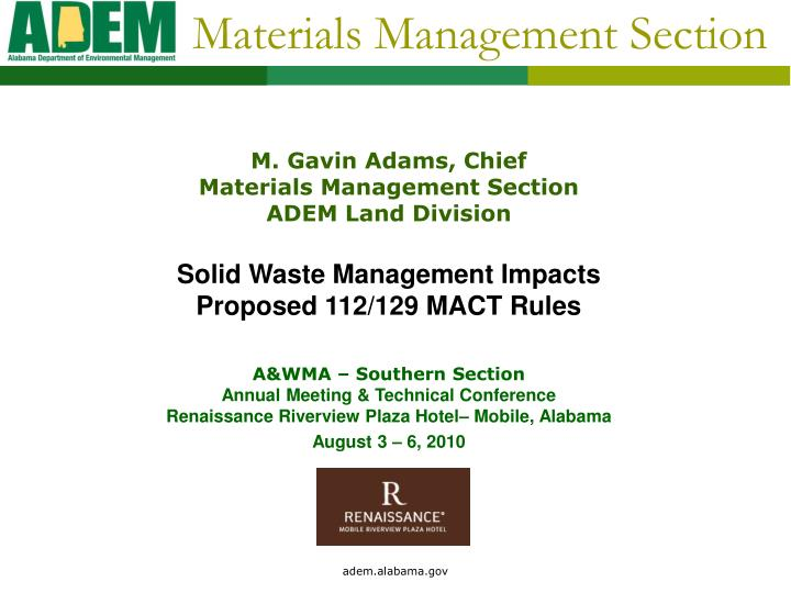 Materials management section