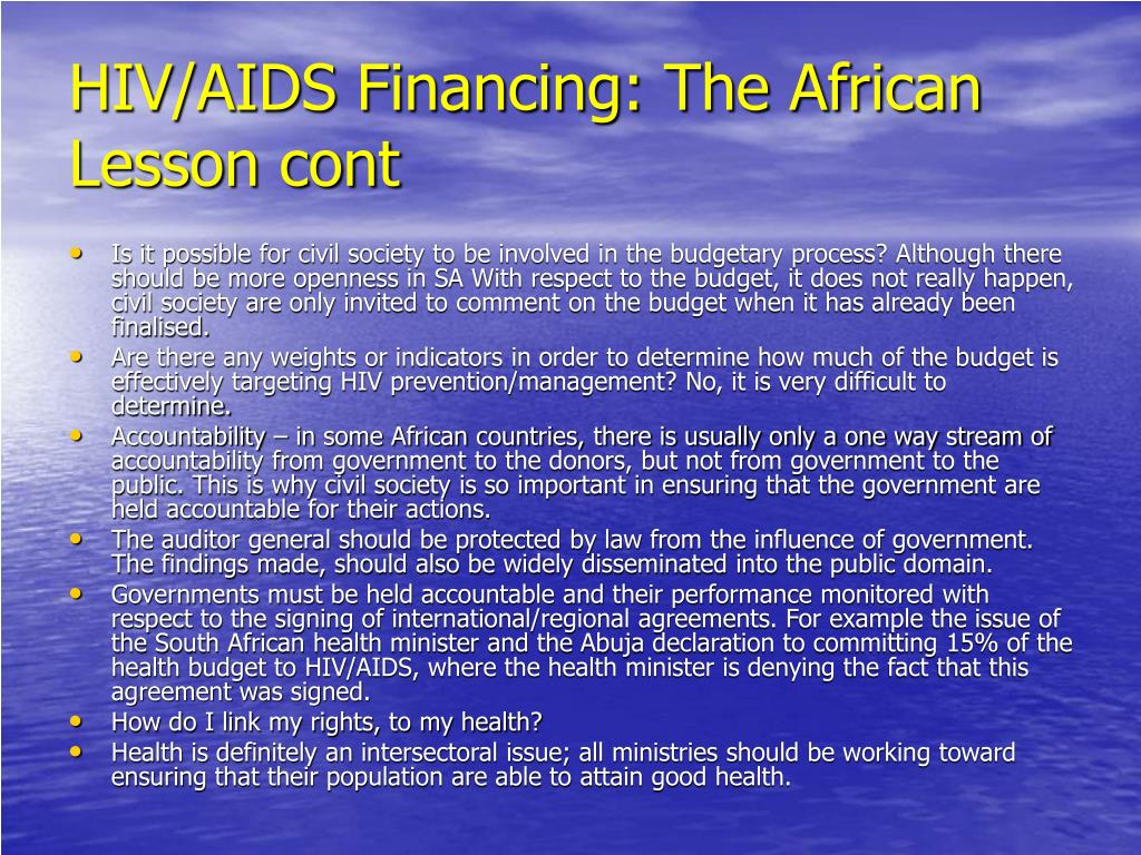 HIV/AIDS Financing: The African Lesson cont