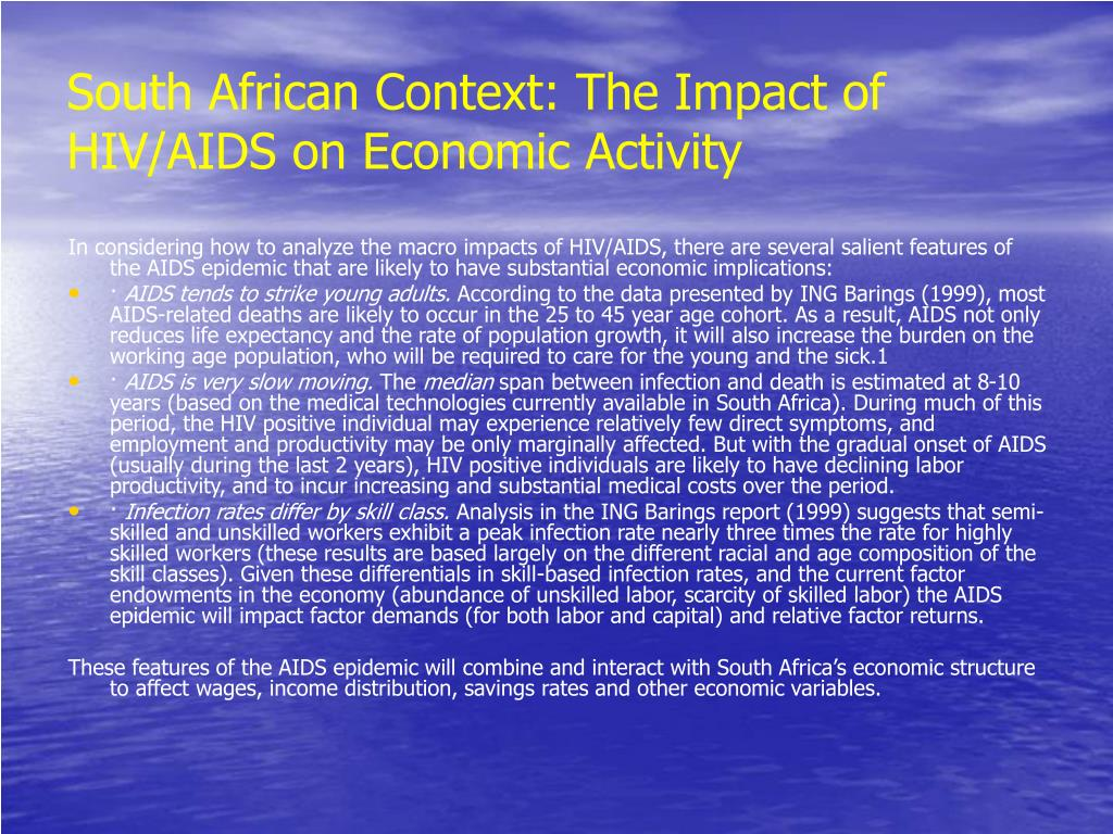 South African Context: The Impact of HIV/AIDS on Economic Activity